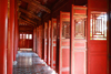 Hue - Vietnam: Imperial Citadel - red doors of the shrine inside the Minh Mang Mausoleum - photo by Tran Thai