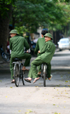 Hanoi - Vietnam - uniform of the Vietnamese Army - soldiers on bikes - photo by Tran Thai