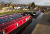Llangollen, Denbighshire / Sir Ddinbych, Wales, UK: quiet day - off duty canal longboats lined up - photo by I.Middleton