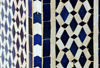 Laâyoune / El Aaiun, Saguia el-Hamra, Western Sahara: Moroccan tiles - white and blue Zellige - Laayoune Moulay Abdel Aziz Great Mosque - photo by M.Torres