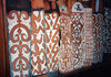 West Papua / Irian Jaya - Agats: tribal shields at the Asmat museum - photo by G.Frysinger