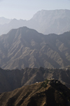 Hajjah governorate, Yemen: mountains and two villages seen from Hajjah - photo by J.Pemberton
