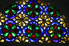 Wadi Dhahr, Al-Mahwit Governorate, Yemen: stained-glass takhrim window at the Rock Pallace / Dar al-Hajar Palace - plaster fretwork filled with colored glass - photo by E.Andersen