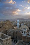 Sana'a / Sanaa, Yemen: view over Old City - mosque and old style skycrapers - UNESCO world heritage - photo by J.Pemberton