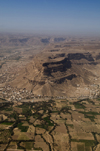 Wadi Hadhramaut, Hadhramaut Governorate, Yemen: view of Wadi villages and fields from plane - photo by J.Pemberton