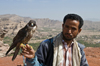 Wadi Dhahr, Al-Mahwit Governorate, Yemen: man with falcon, valley in the background - falconry - falconer - huntsman - photo by J.Pemberton