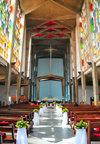 Lusaka, Zambia: Anglican Cathedral of the Holy Cross - interior ready for a wedding - the  Zambian sun shines thorugh the tall windows - Independence Avenue - photo by M.Torres