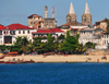 Stone Town, Zanzibar, Tanzania: beach, Tembo hotel and the twin spires of St. Joseph's Cathedral - Shangani - photo by M.Torres