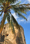 Stone Town, Zanzibar, Tanzania: Old fort - cylindrical tower and coconut tree - Arab fort - Ngome Kongwe - photo by M.Torres